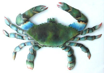 Hand Painted Metal Crab Wall Hanging - 34\