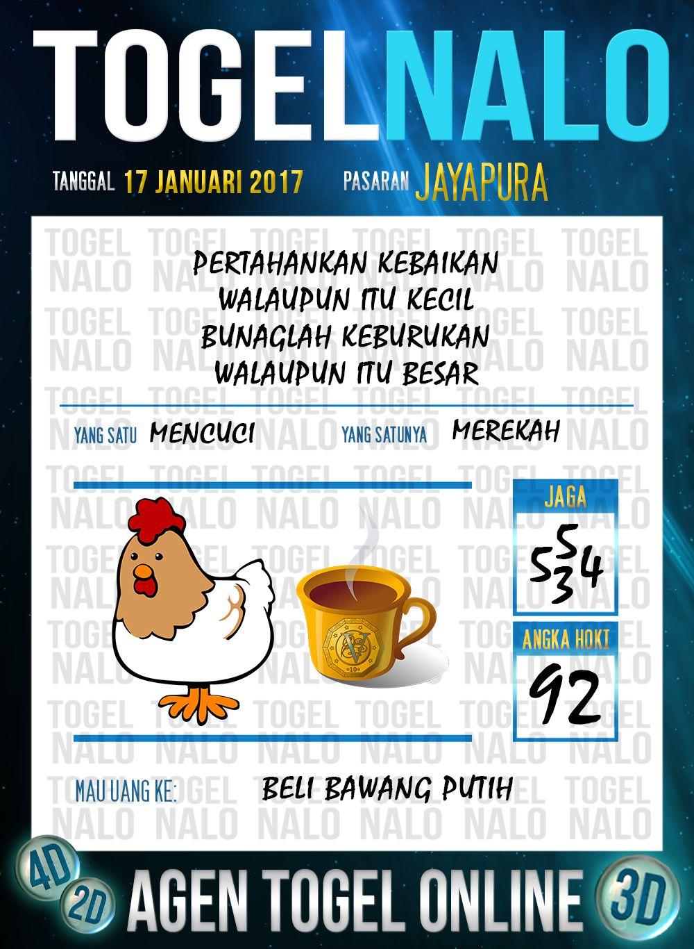Kop Jitu 3D Togel Wap Online Live Draw 4D TogelNalo Jayapura 17 Januari 2017