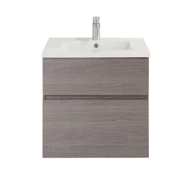 Meuble de salle de bains d cor ch ne fum 60 cm calao mont castorama france building for Meuble salle de bain calao