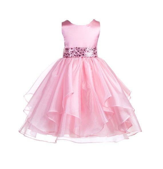 Wedding Asymmetric Ruffles Satin Organza dusty rose pink Flower girl dress sequin sash bridesmaid toddler children sizes 4 6 8 10 12 #012