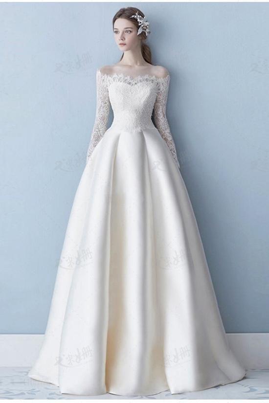 Elegant aus der Schulter Langarm Satin A Line Lace Plus Size Brautkleid O #branddresses