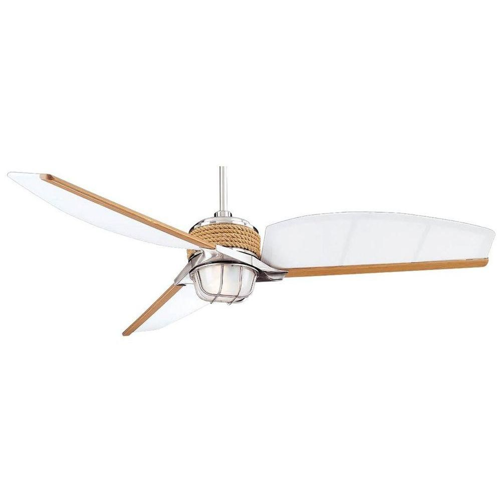 Hampton Bay Escape 68 In Indoor Outdoor Brushed Nickel Ceiling Fan 34314 At The Home Depot Nautical Ceiling Fan Brushed Nickel Ceiling Fan Ceiling Fan