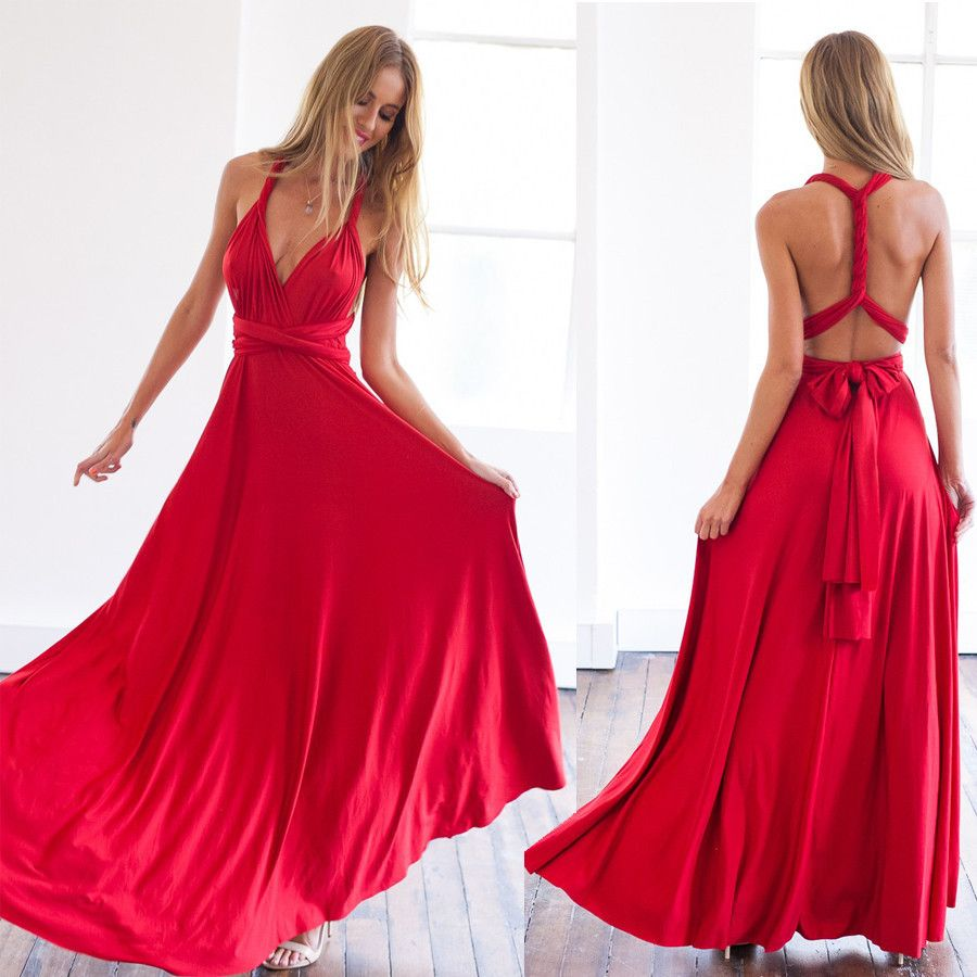 Summer women multi way dress beautiful red maxi dress sexy V-neck wrap around design robe longue sleeveless bandage dress