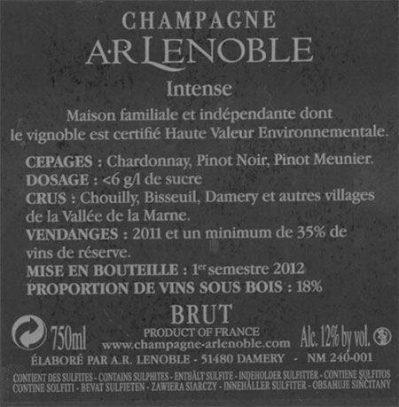 La nueva etiqueta trasera #Champagne Lenoble