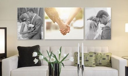 One Or Two 16 X20 Gallery Wrapped Canvas Prints Or One 20 X24 Print From Canvas On Demand Up To 79 Off Wedding Photo Walls Wedding Photo Display Wall Canvas