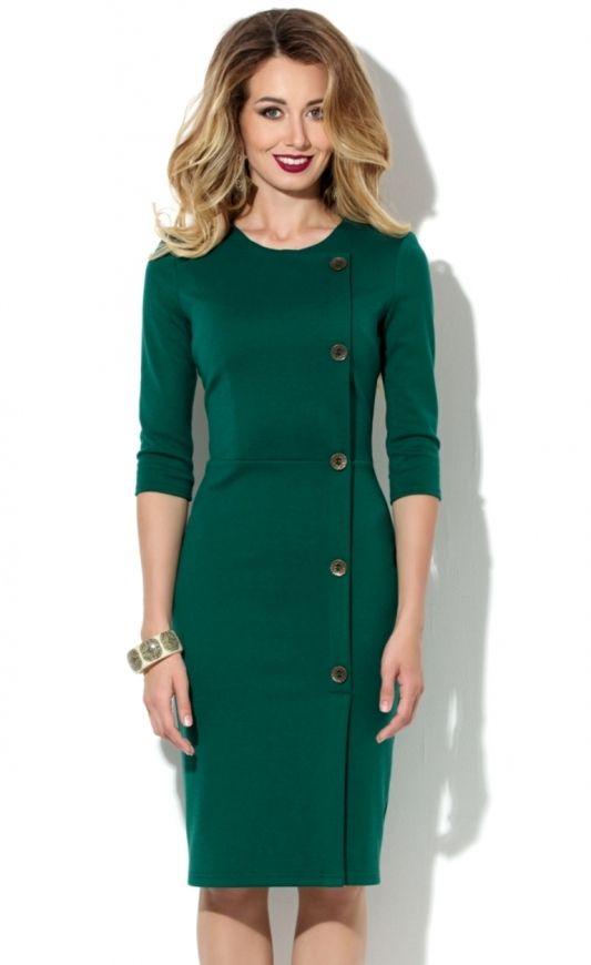 Зеленый трикотаж платья