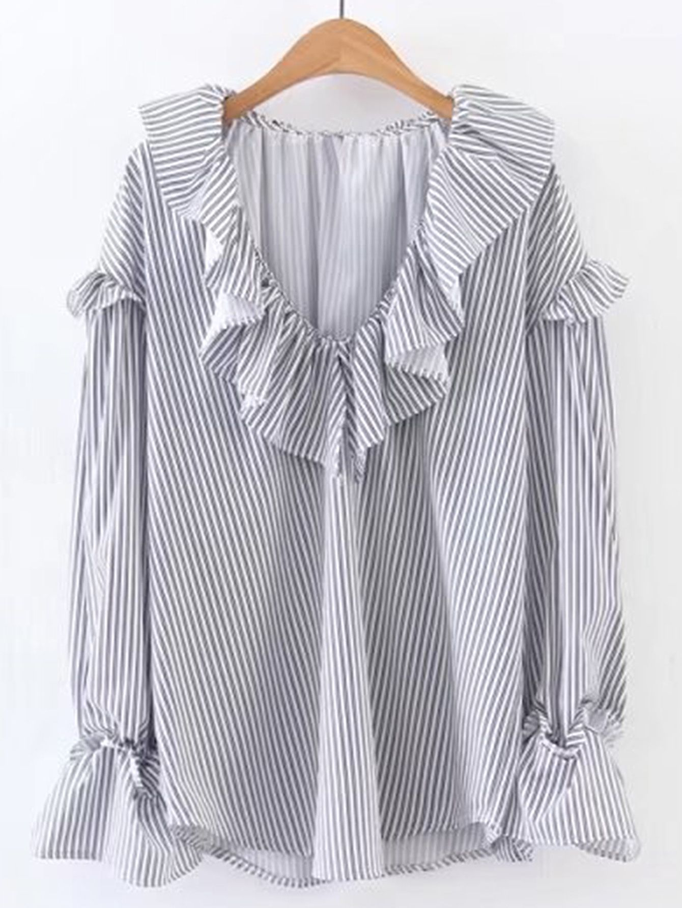 Shop V Neckline Ruffle Trim Blouse Online Shein Offers Azkia Tunic More To Fit Your Fashionable Needs