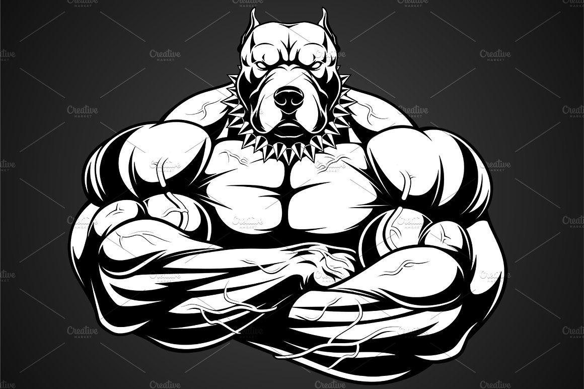Angry Dog Bodybuilder Angry Dog Pitbull Art Bull Art