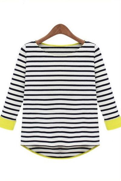 321d365abadf Neon Yellow Trimmed Black Striped Jersey Top Women s Basic Tee T-shirt Neon  Yellow Tops