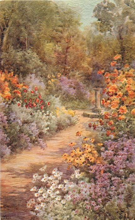 path from lower left leading to sundial, flowers on either side, bushes & trees behind