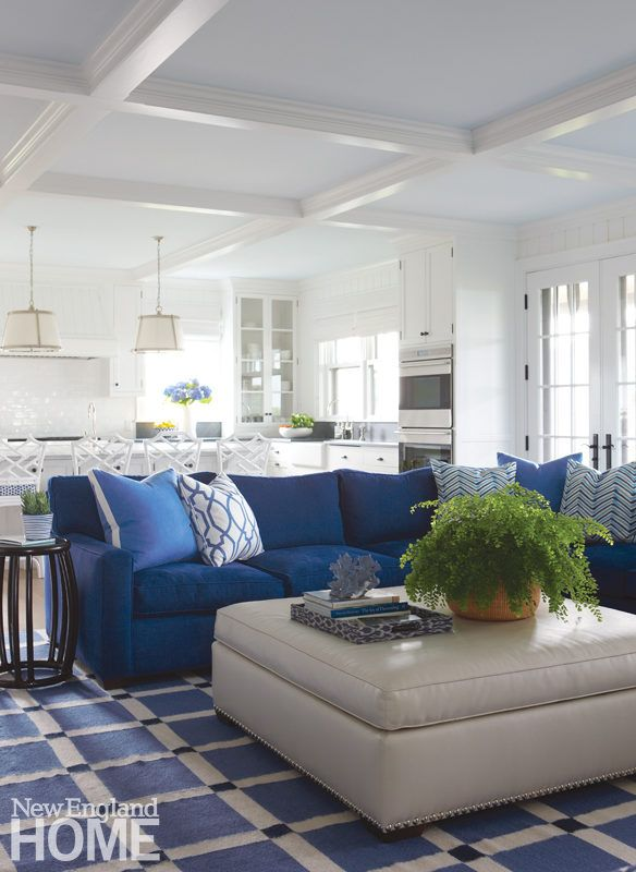 This family room is outfitted for comfort with an oversized sectional and  hefty leather ottoman also new england home nehomemagazine on pinterest rh
