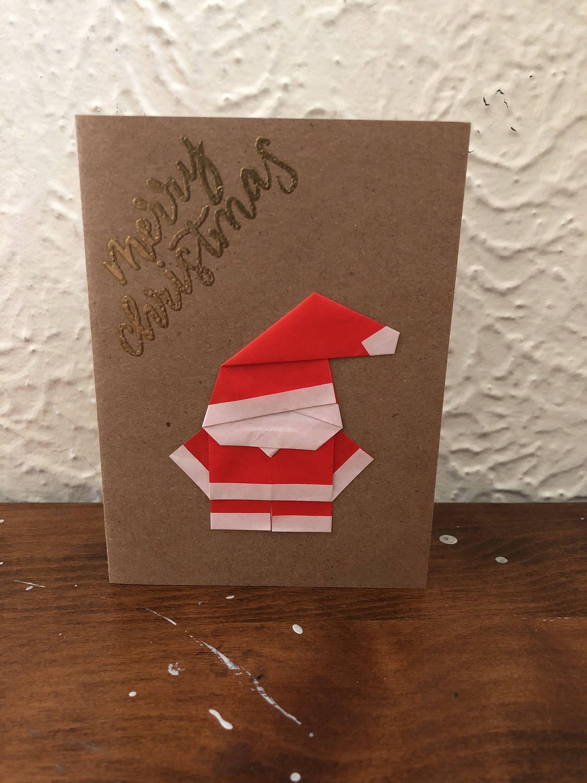 Origami Santa Greeting Card Merry Christmas Card Holiday Greeting