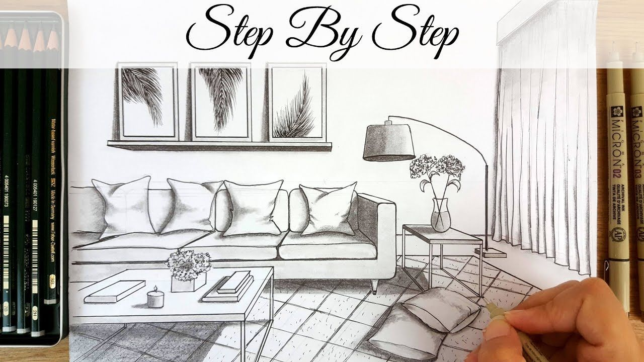 How To Draw A Modern Living Room In One Point Perspective Step By Step How To Draw In One Point P One Point Perspective Drawing Room Interior Perspective Art