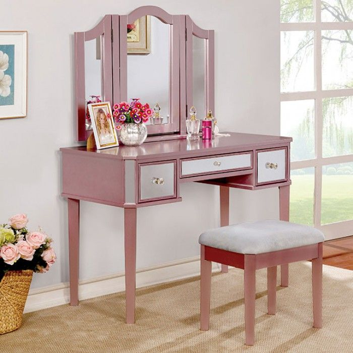 3 Pc Clarisse Collection Rose Gold Finish Wood Make Up Bedroom Vanity Set.  This Set