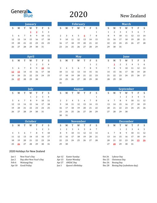 Calendar With Holidays New Zealand In 2020 Calendar Template Excel Calendar Template Excel Calendar