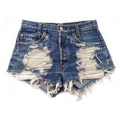 Women's Levi's Frayed Distressed Denim High Rise Jean Shorts ...