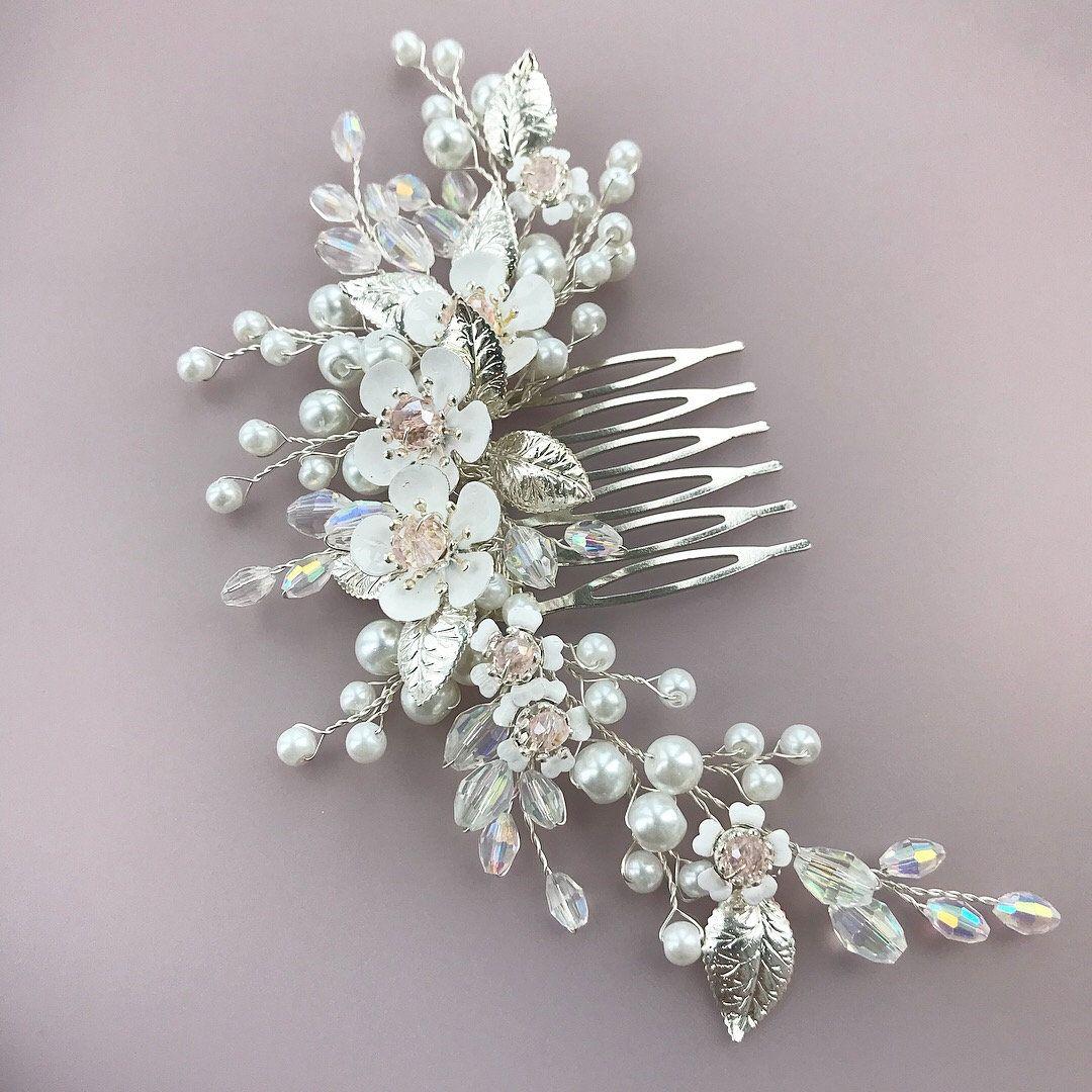 6 Pcs Mariage//Mariée perles-fleurs cristal cheveux Pins Clips Bridesmaid