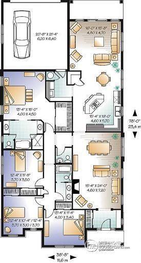 Dessins Drummond   W3250 Grande Maison Confortable, 4 Grandes Chambres,  Suite Des Maîtres,