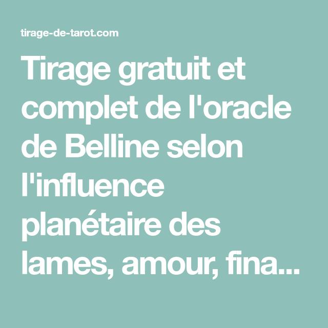 Tirage gratuit et complet de l oracle de Belline selon l influence  planétaire des 56a06801b2d9