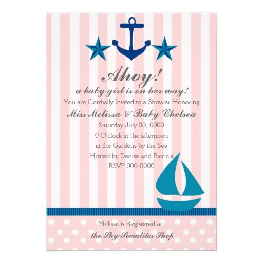 Nautical Girl Invitations in Pink and Blue. Sailboat anchors and stars make it great for showers, birthdays or even weddings!