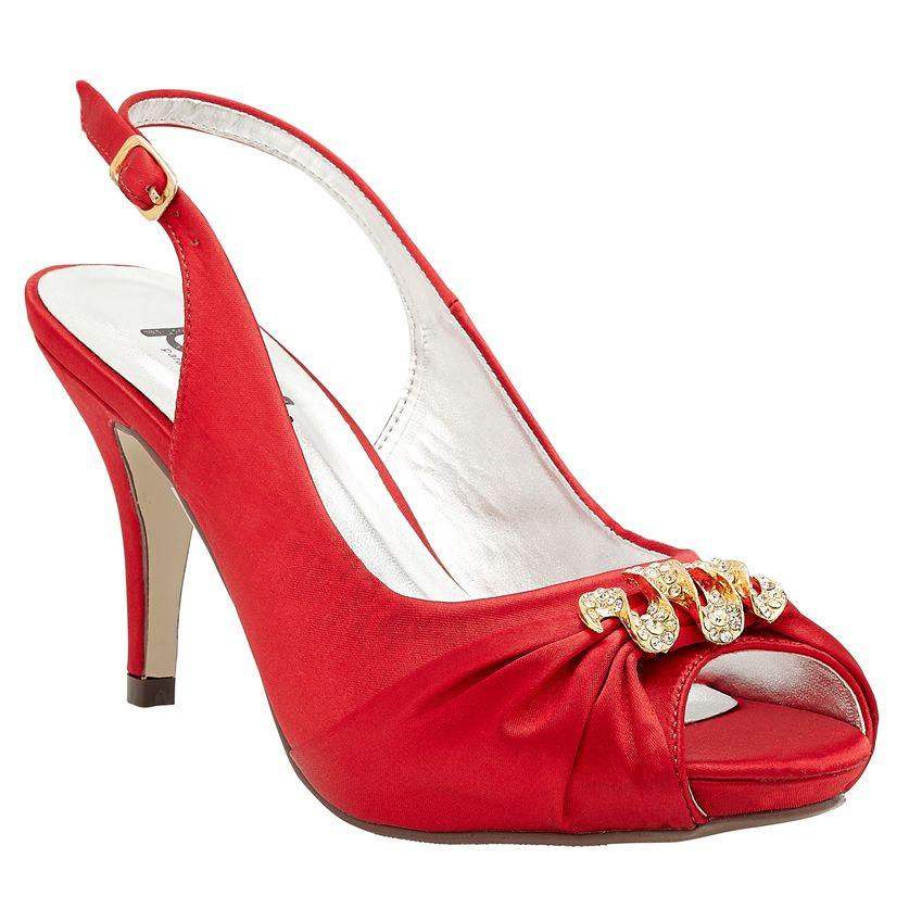 Pink Paradox Vivian Red Satin Slingbacks, £39.95 - Crystal Bridal Accessories