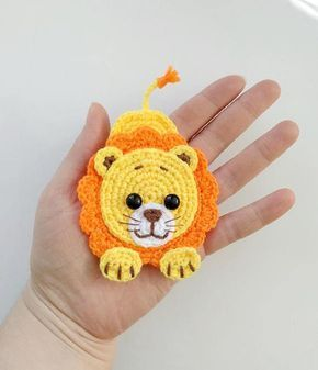 PATTERN Lion Applique Crochet Pattern PDF Jungle Animal Pattern Safari Zoo Animal Pattern Instant Download Motif Ornament Baby Blanket ENG #crochetapplicates