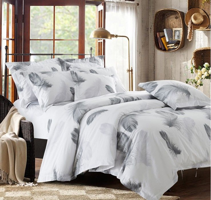 Black And White Bedding Set Feather Duvet Cover Twin Size Single Bed Sheets Bedspreads Quilt Linen Cotton Plume White Bed Set Bed Linen Sets Feather Duvet