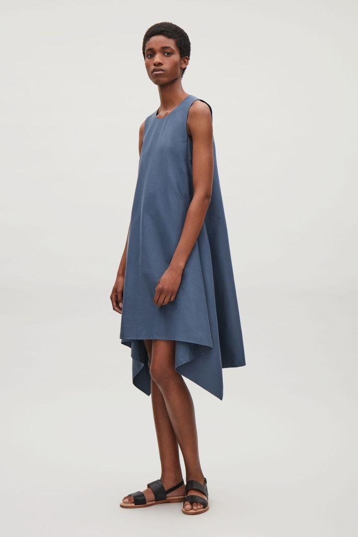 COS image 1 of Sleeveless draped dress in Slate Blue