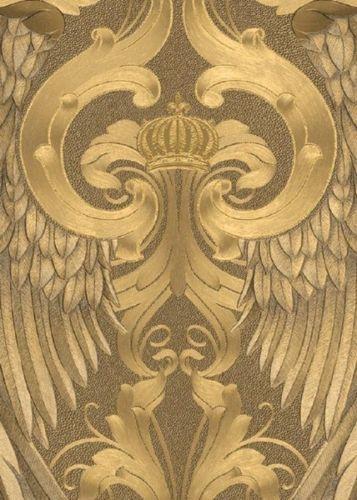 Harald Gloeoeckler Vlies Tapete Krone Fluegel In Gold