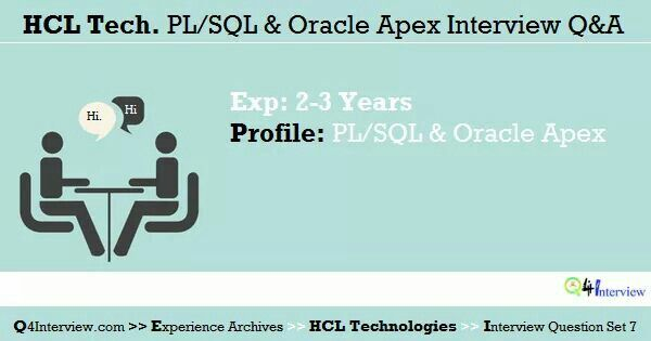 Hcl Technologies Dbm Pl Sql Interview Questions And Answers