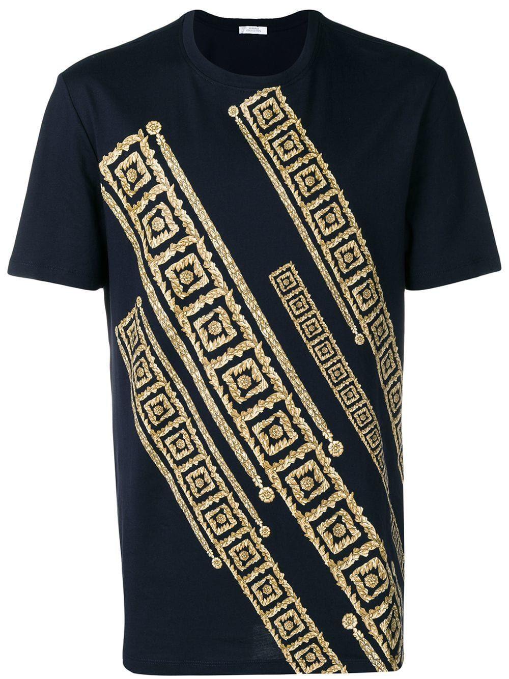 f9096ecd05ff VERSACE VERSACE COLLECTION GREEK KEY PATTERN T-SHIRT - BLUE. #versace #cloth