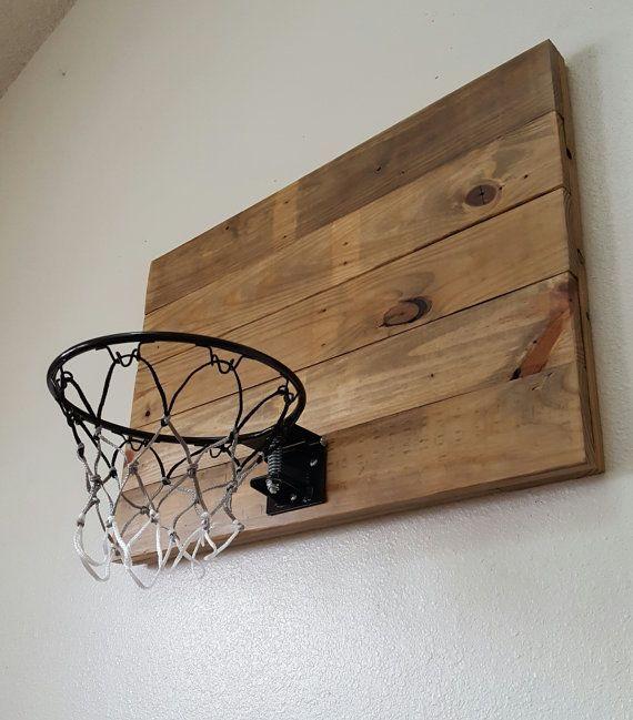 Natural Wood Basketball Hoop With Orange Rim. Wood Indoor