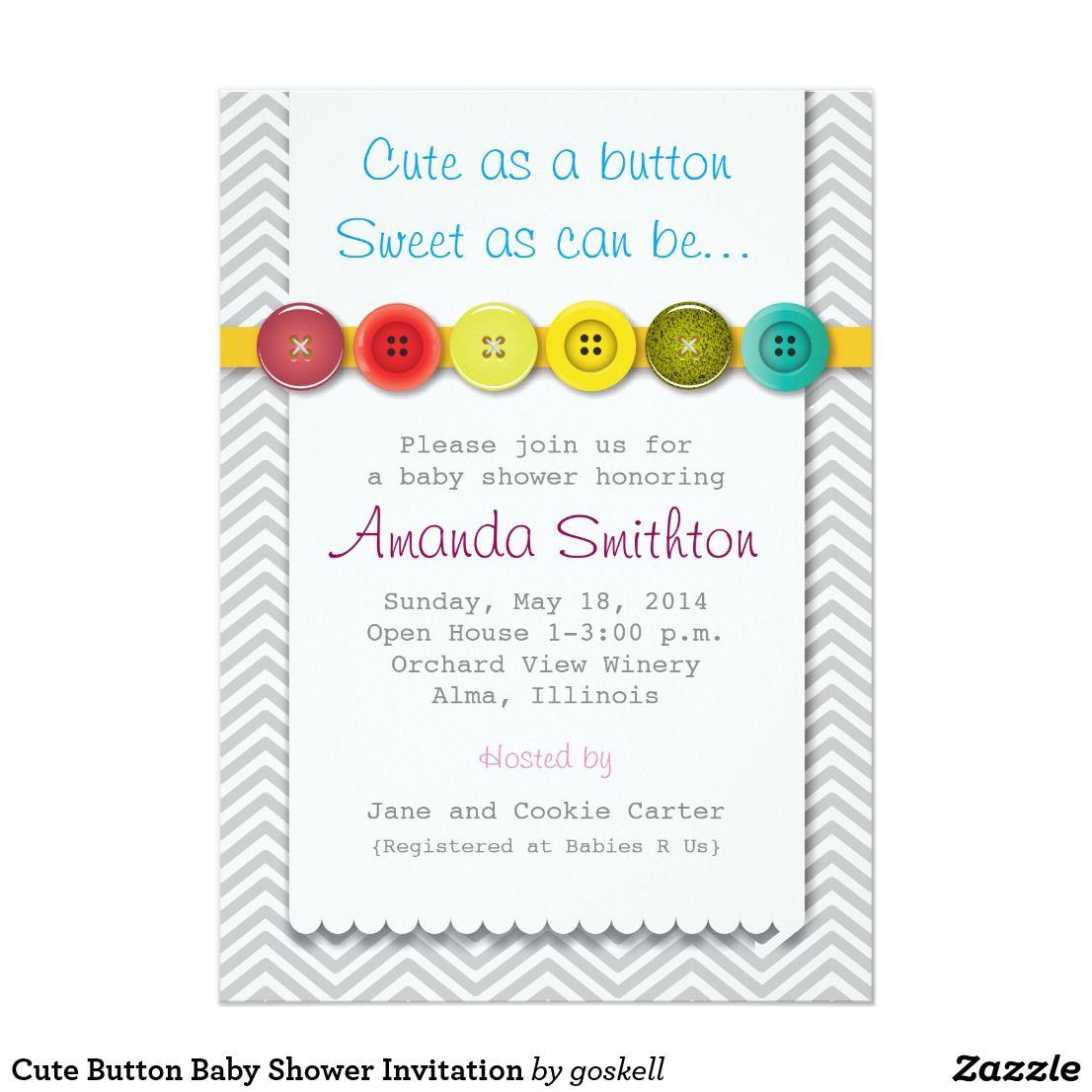 Cute Button Baby Shower Invitation | Shower invitations