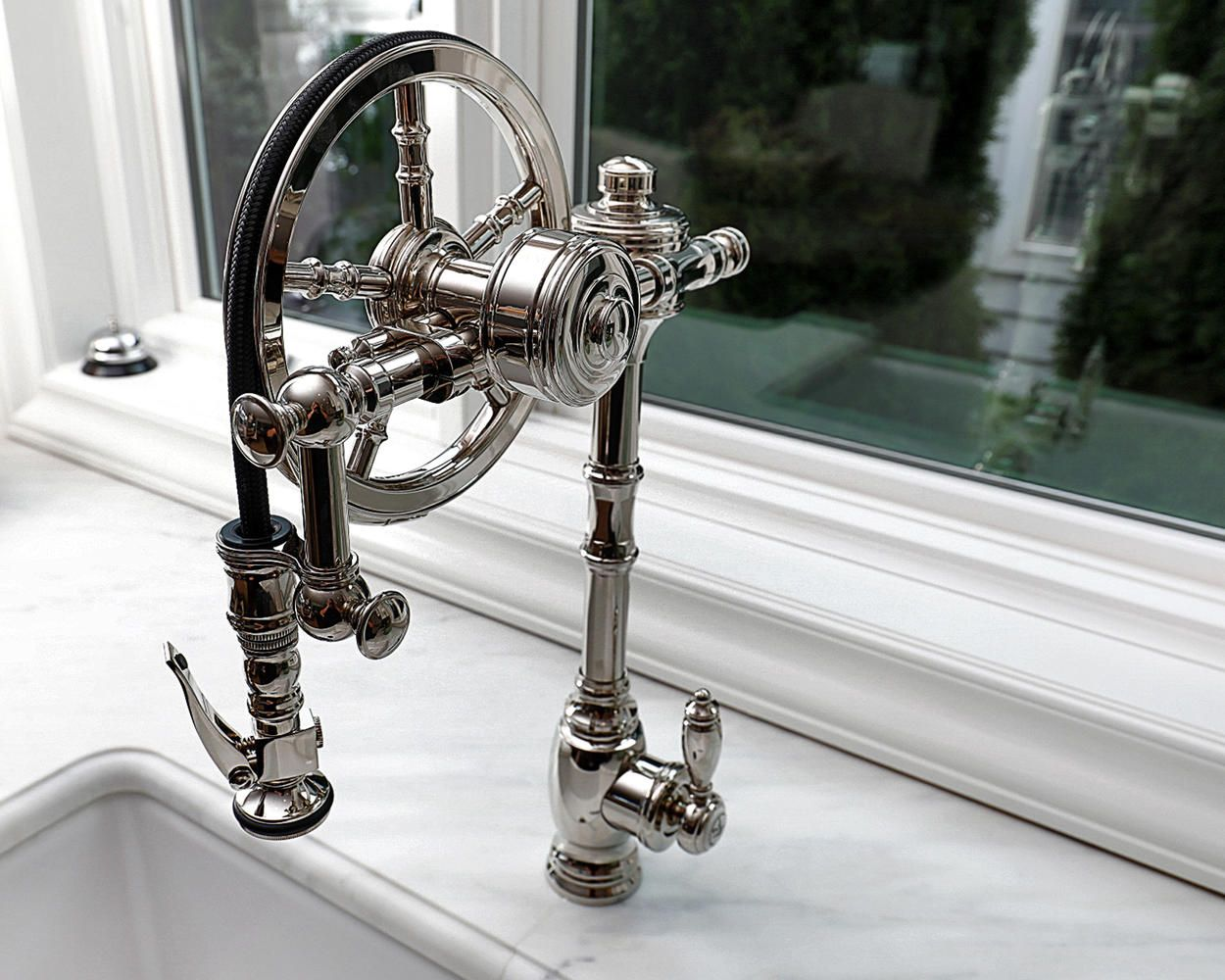 Waterstone Wheel Pulldown In Polished Nickel Kitchen Design By Rene Costabile Of Design Line Kitchens Sea Girt Nj