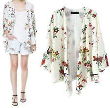 Spring Summer Woman Floral NO Button Kimono Sleeve Comfy Shirt Blouses Tops SML