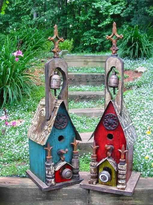 Large Rustic Church Birdhouse with Bell~ Each is unique, signed by the artist. Vintage hardware with old world style... for the birds!