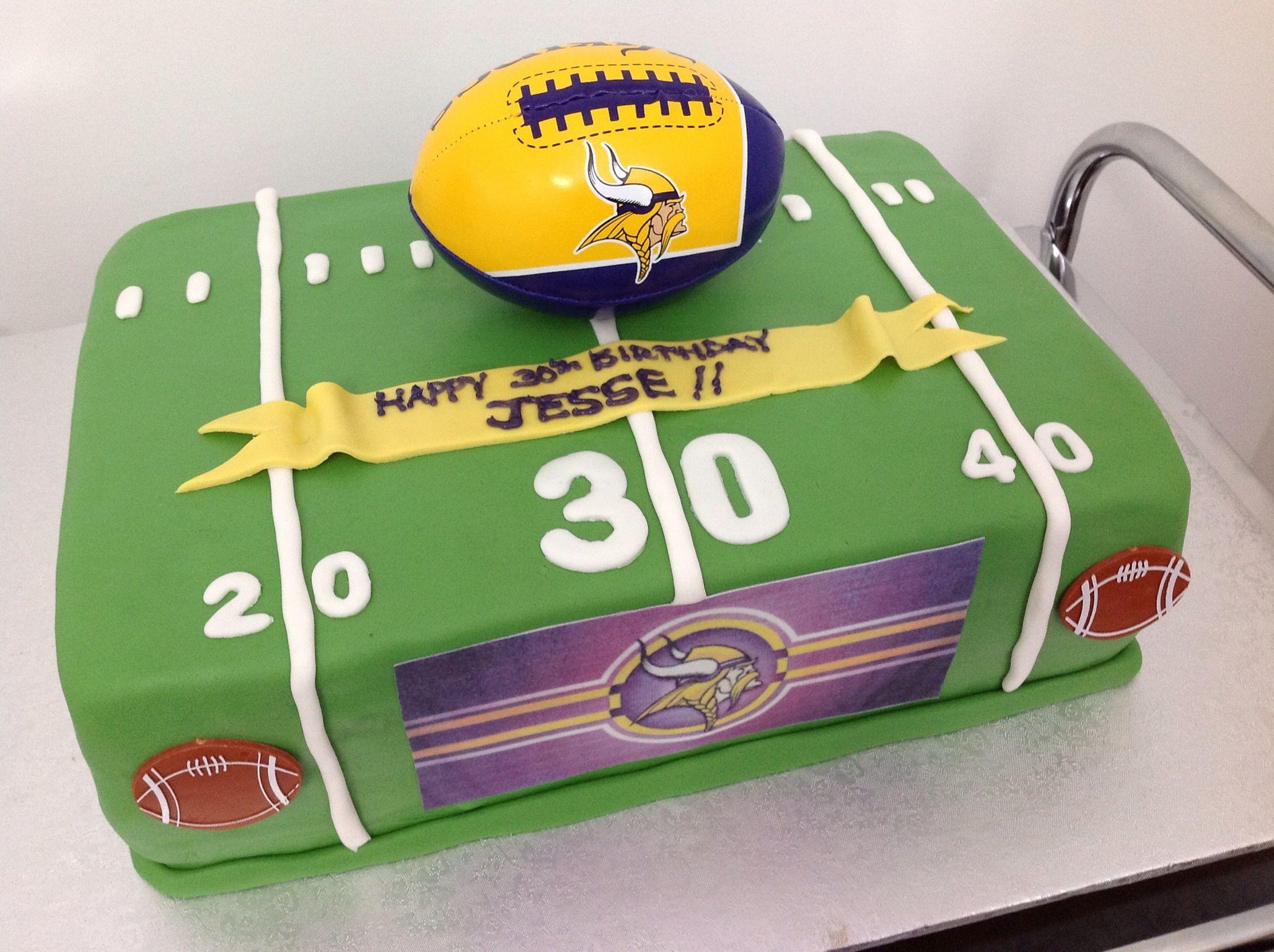 Football Cake For Th Birthday Minnesota Vikings Fan Box Of - Football cakes for birthdays