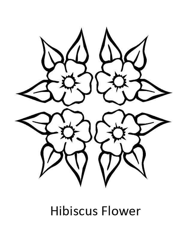 Hibiscus Flower Four Beautiful Hibiscus Flower Coloring Page