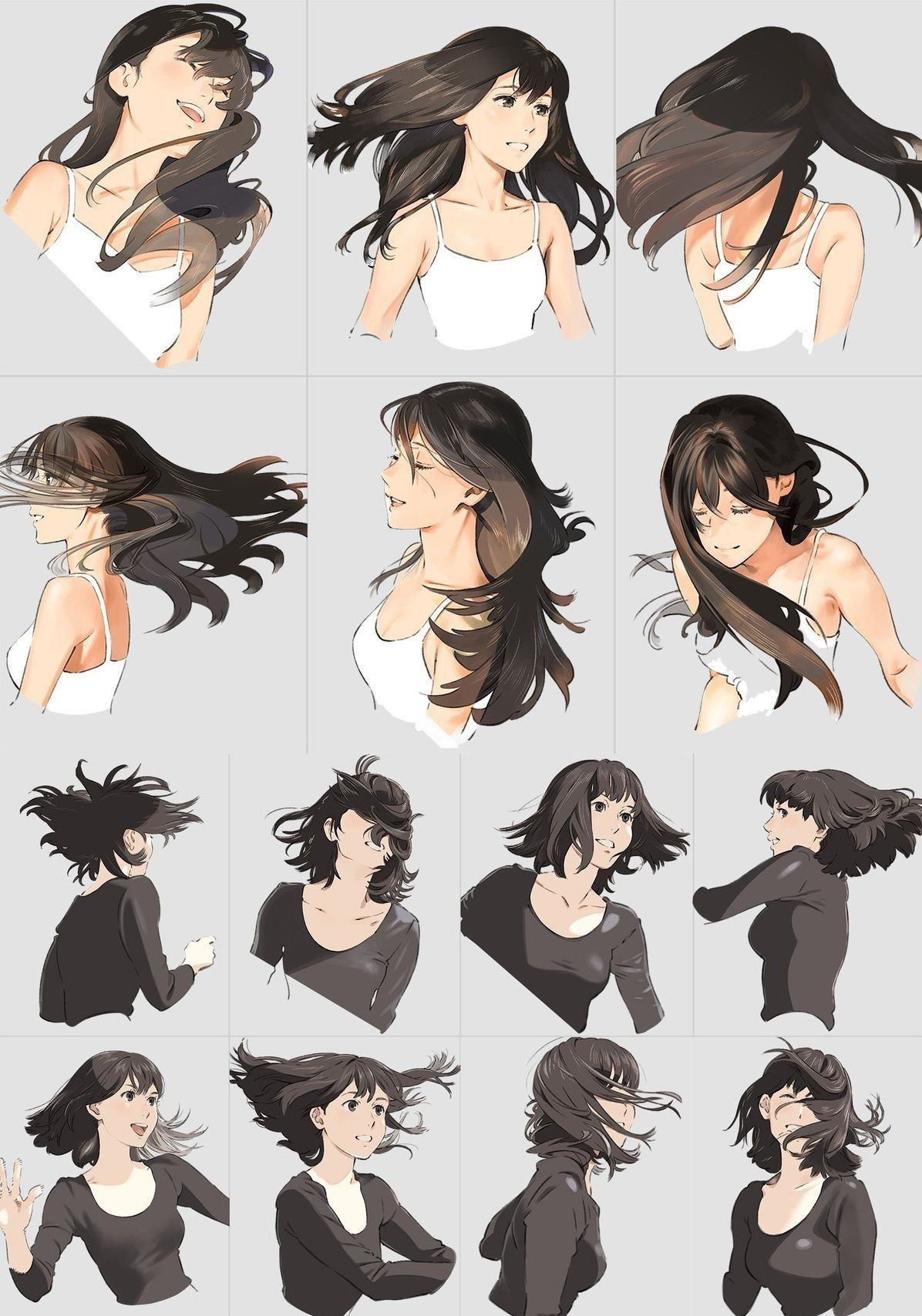 hair wind persective dessins