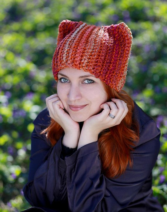 3883e34ef1e Winter red fox hat with funny ears knitting handmade unisex adult crochet  beanie gift idea for anima