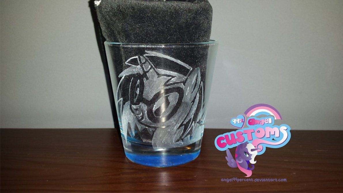 Vinyl Scratch hand engraved glass by angel99percent