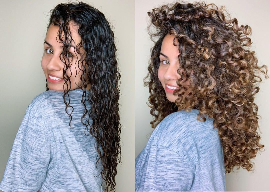 Wet vs. Dry Curly Hair from @kassandracastillo_  Dry curly hair