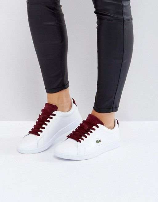befc750436f7b Lacoste Carnaby Evo 317 1 Trainers In White With Burgundy
