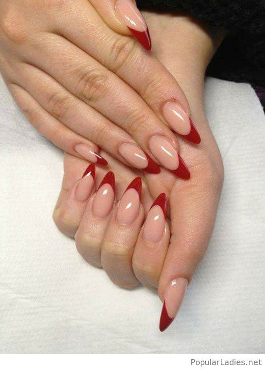 Nice Red Tips Neutral Nails Red Nails