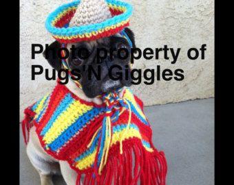 Pugs-Cinco De Mayo-Poncho-Sombrero For Dogs-Pet Clothing-Dog Clothing- Pet-Pug Clothing-Clothing for Pugs-Pug Life-Dog costumes