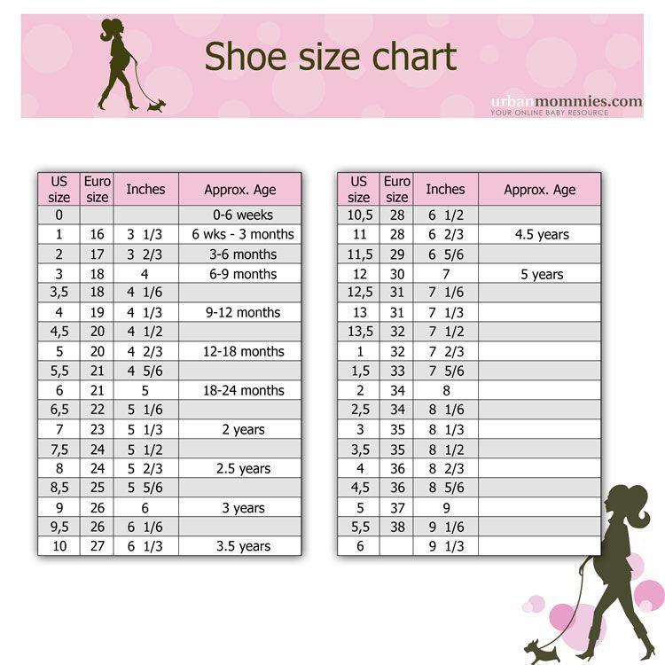 Toddler shoe size chart   Shoe size