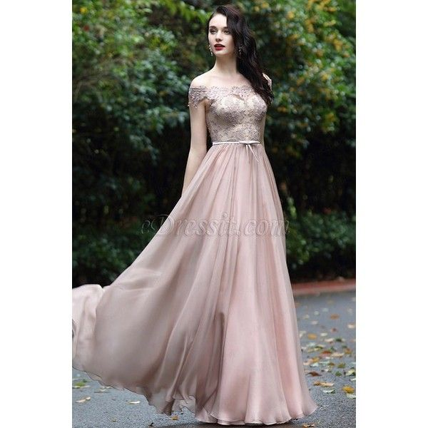 06b692b07b98 eDressit Blush Off Shoulder Lace Prom Dress (02171946) ($180) ❤ liked on  Polyvore featuring dresses, off-the-shoulder lace dresses, lace prom dresses,  ...