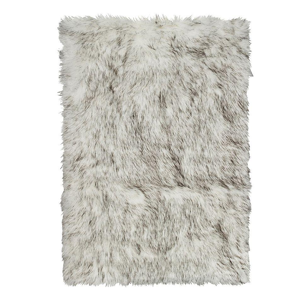 Luxe Hudson Faux Fur Sheepskin 5 X 8 Shag Rug Throw In Gradient