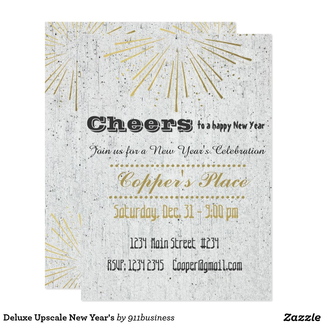 Custom Deluxe Upscale New Year\'s party invite Card. Personalize this ...