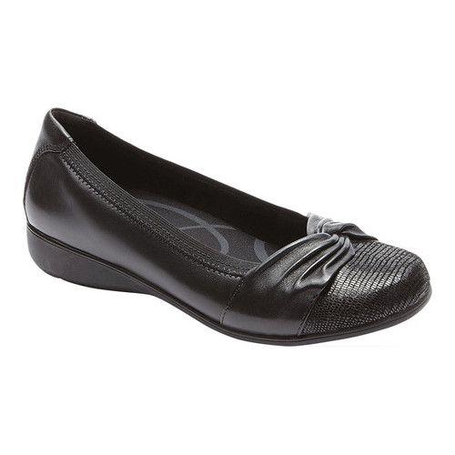 50b0744bc Women's Aravon Andrea-AR Ballerina Flat - Black Leather Flats ...